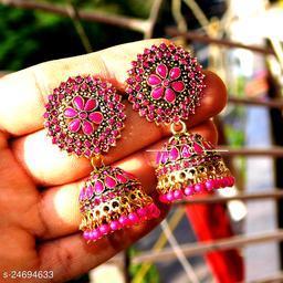 designer big jhumka earrings for wedding latest design party wear stone jhumki pink color