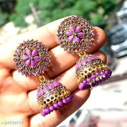designer big jhumka earrings for wedding latest design party wear stone jhumki purple color