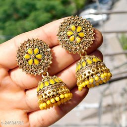 designer big jhumka earrings for wedding latest design party wear stone jhumki yellow color