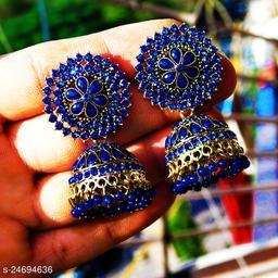 designer big jhumka earrings for wedding latest design party wear stone jhumki Navyblue color
