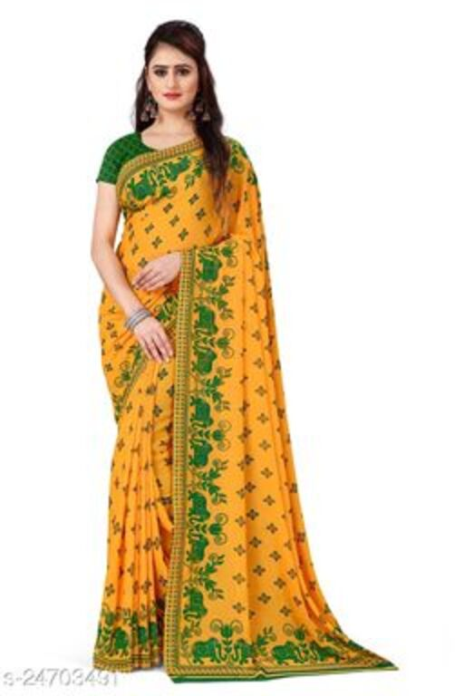 Alluring Printed Georgette Saree with blouse piece