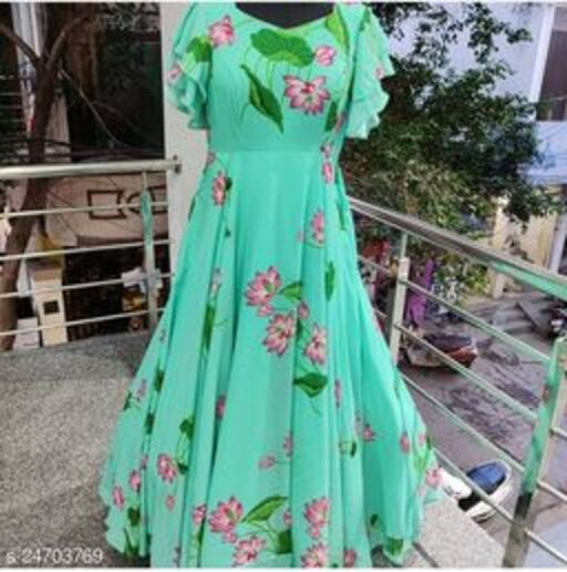 Majesty Green Colored Partywear Printed Georgette Gown