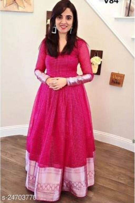 Stylish pink colored partywear cut work orgenza gown