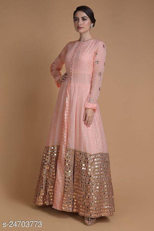 Designer Peach Jacket Lahenga With Mirror Abla Work Along With Weaving Work Skirts