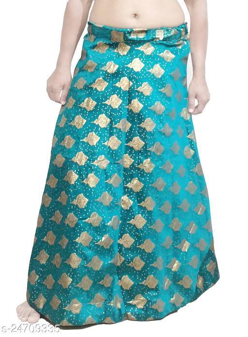 PU Fashion Designer partywear Lehenga with jari work, Rama Green Colour