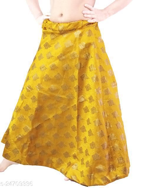 PU Fashion Designer partywear Lehenga with jari work. Yellow Colour