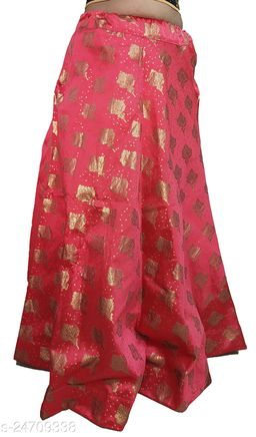 PU Fashion Designer partywear Lehenga with jari work, Gajari Colour