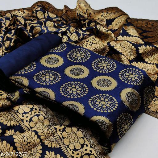 Unstitched Jacquard Self Design Dress Material with Dupatta