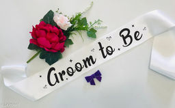 """Style Secrets Premium Quality 3"""" White Satin Groom to Be Sash for Beautiful Boys for Ring Ceremony, Pre-Wedding, PhotoShoot"""