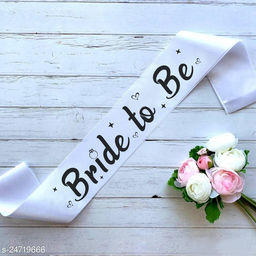 """Style Secrets Premium Quality 3"""" White Satin Bride to Be Sash for Beautiful Girls for Ring Ceremony, Pre-Wedding, PhotoShoot"""
