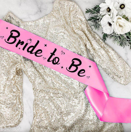 """Style Secrets Premium Quality 3.7"""" Ballerina Pink Satin Bride to Be Sash for Beautiful Girls for Ring Ceremony, Pre-Wedding, PhotoShoot"""