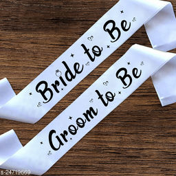 """Style Secrets Premium Quality 3"""" White Satin Bride to Be and Groom to Be Sash for Beautiful Girls and Boys for Ring Ceremony, Pre-Wedding, PhotoShoot ( Pack of 2 )"""