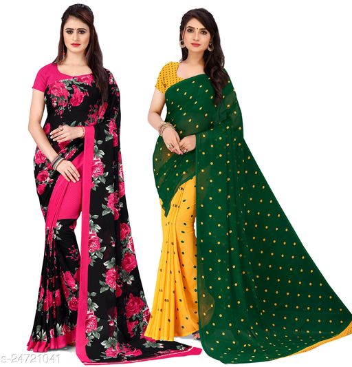 Combo of Printed Georgette Sarees with unstitched blouse piece