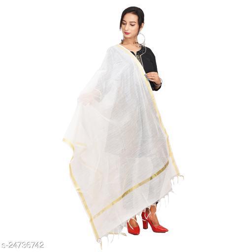 Efara Woman's Plain White Colour Beautiful Dupatta