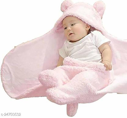 Abstract Single Hooded Baby Blanket  (100% Wool, baby pink