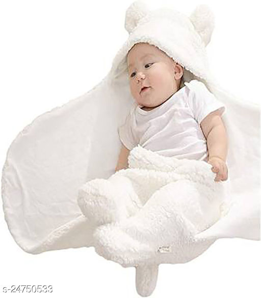 Abstract Single Hooded Baby Blanket  (100% Wool, White)