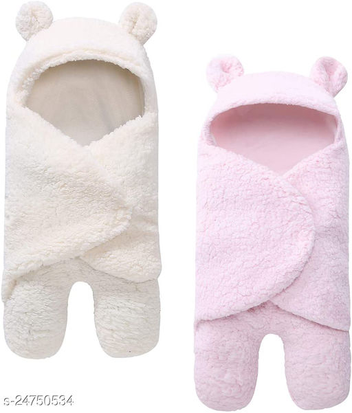 Abstract  Hooded Baby Blanket Pack Of 2  (100% Wool, White,Baby Pink)