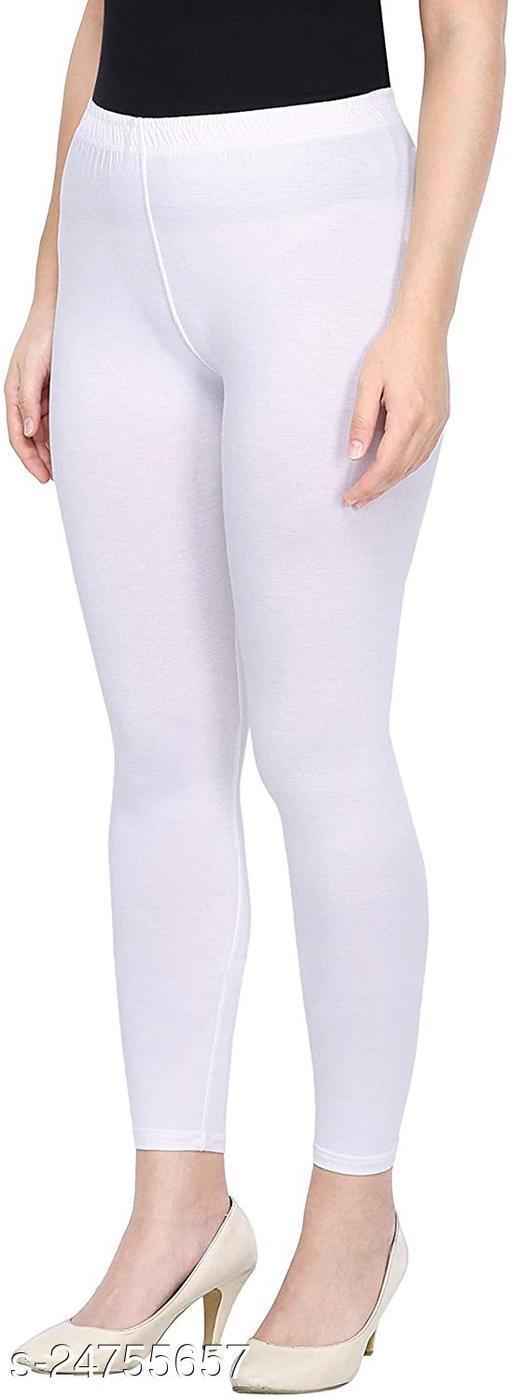 WHITE ANKLE LENGTH ROZY COMFORT LEGGINGS