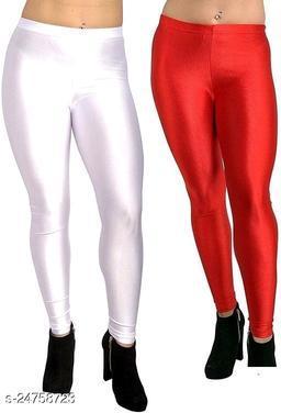 WHITE RED SATIN SHINY LEGGINGS FOR WOMEN