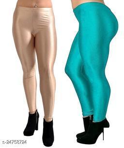 BEIGE RAMA SATIN SHINY LEGGINGS FOR WOMEN