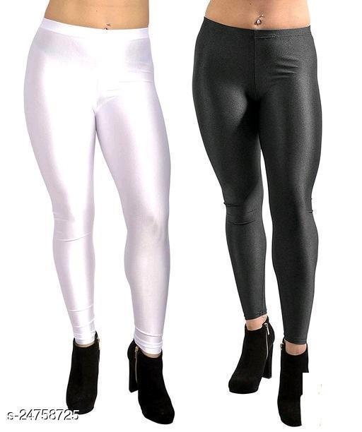 WHITE BLACK SATIN LEGGINGS FOR WOMEN