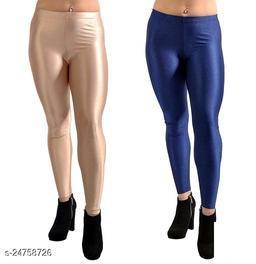 BEIGE NAVY SATIN SHINY LEGGINGS FOR WOMEN