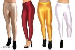 BEIGE MARRON GOLDEN YELLOW WHITE SATIN LEGGINGS FOR WOMEN