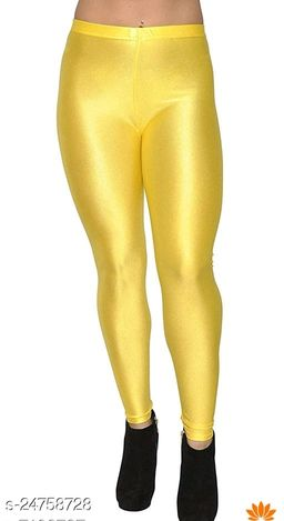 YELLOW SATIN SHINY LEGGINGS FOR WOMEN