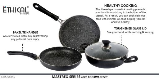 ETHICAL MASTREO Series without Induction Base 4 pcs Cookware Set /Cookware Set With Glass Lid/Festival Pack Cookware