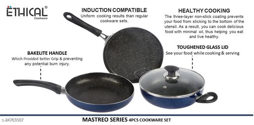 Ethical MASTREO Series 4 pcs INDUCTION Cookware Set /Cookware Set With Glass Lid/Festival Pack with Glass Lid. Cookware Set