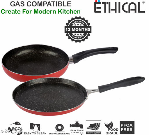 ETHICAL MASTREO Series without Induction Base Non-Stick Dosa Tawa & Fry Pan cookware Set / 2 Pcs Cookware set