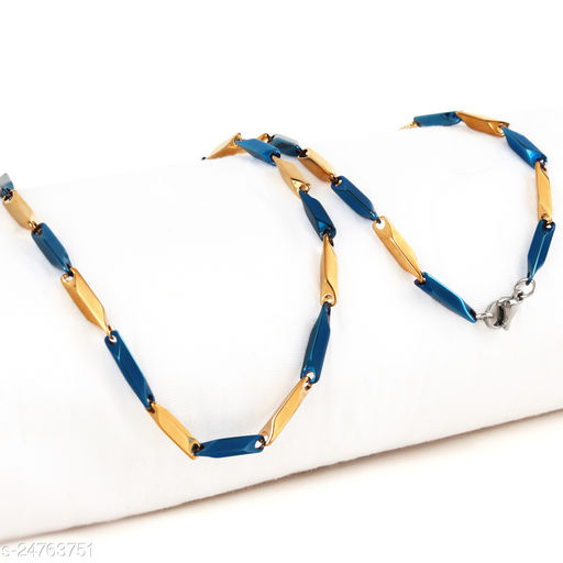 Stylish Latest Stainless Steel Golden Blue Chain For Men Women 24 -Inches Long