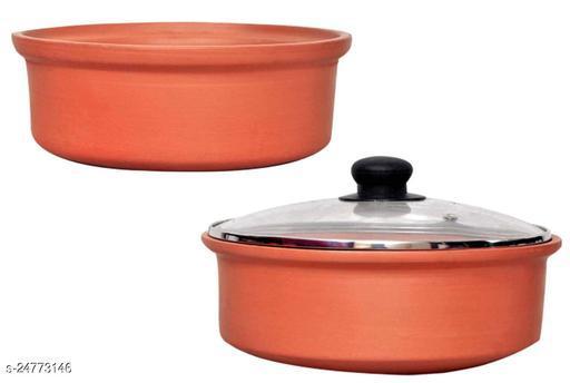 Vaghbhatt Clay kadai with Lid/Clay pots for Cooking/Organic Mitti Kadhai, 2000 ml, Brown Clay kadaiClay kadai/Clay pots for Cooking/Organic Mitti Kadhai, 2 Litre, Brown Clay kadai Pack Of 2