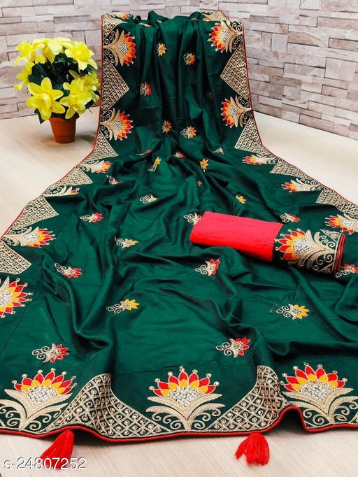 Heer Enterprise Women's Dola Silk Heavy Embroidered Party Wedding Fashion Saree Green Color