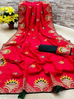 Heer Enterprise Women's Dola Silk Heavy Embroidered Party Wedding Fashion Saree Red Color