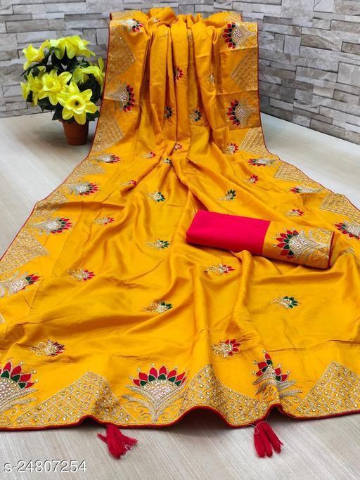 Heer Enterprise Women's Dola Silk Heavy Embroidered Party Wedding Fashion Saree Yellow Color