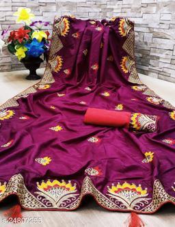 Heer Enterprise Women's Dola Silk Heavy Embroidered Party Wedding Fashion Saree Purple Color
