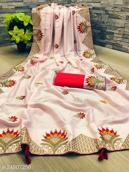 Heer Enterprise Women's Dola Silk Heavy Embroidered Party Wedding Fashion Saree Baby Pink Color