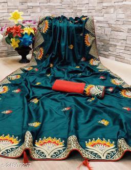 Heer Enterprise Women's Dola Silk Heavy Embroidered Party Wedding Fashion Saree Morpich Color