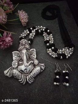 Women's Silkthread Oxidised Silver Jewellery Set