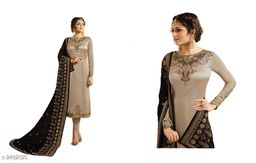 Ravishing Satin Georgette Embroidered Suits & Dress Material