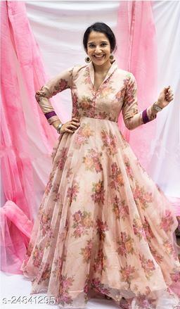 STYLISH BROWN COLORED PARTYWEAR PRINTED ORGENZA GOWN