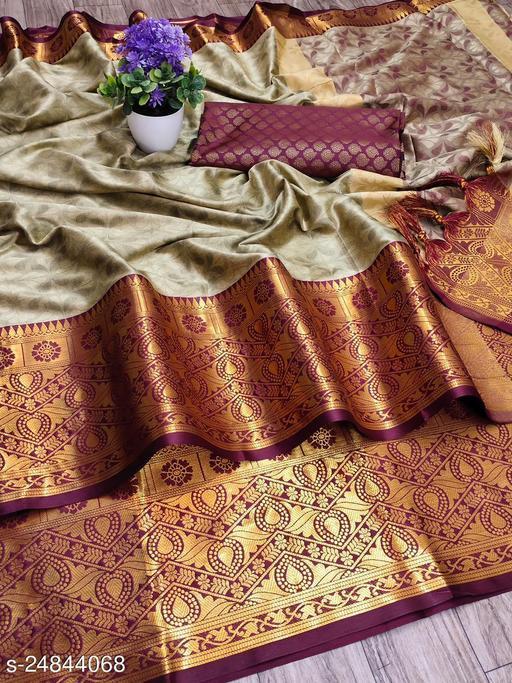 Soft Silk Self Designer saree with brasso type paithani saree