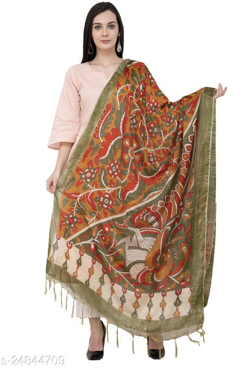 A R Silk Modal Kalamkari Print Fancy Dupatta Color Multi Print Dupatta/Chunni (SC-ARS086)