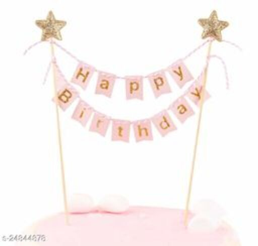 Happy Birthday Cake Topper Banner Bunting  Handmade Ivory Pennant Flag Banner Cake Topper with Wooden Polls Perfect for cakes donut cakes (Pink) (Party Monkey)