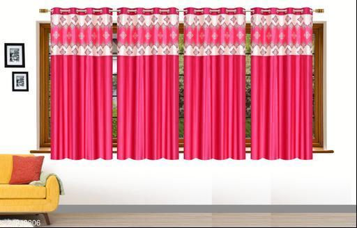 Magenta Pink Designer Heavy 24 KG  Quality Crush 5 Feet Window Curtains Pack of 4