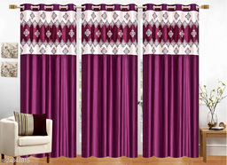 Mulberry Purple Designer Heavy 24 KG  Quality Crush 5 Feet Window Curtains Pack of 3