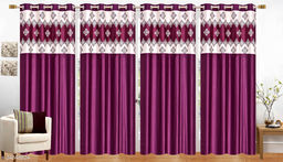 Mulberry Purple Designer Heavy 24 KG  Quality Crush 5 Feet Window Curtains Pack of 4