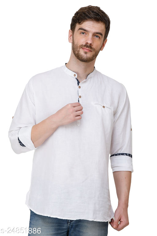 Mens White Color Slim Fit Casual Shirts