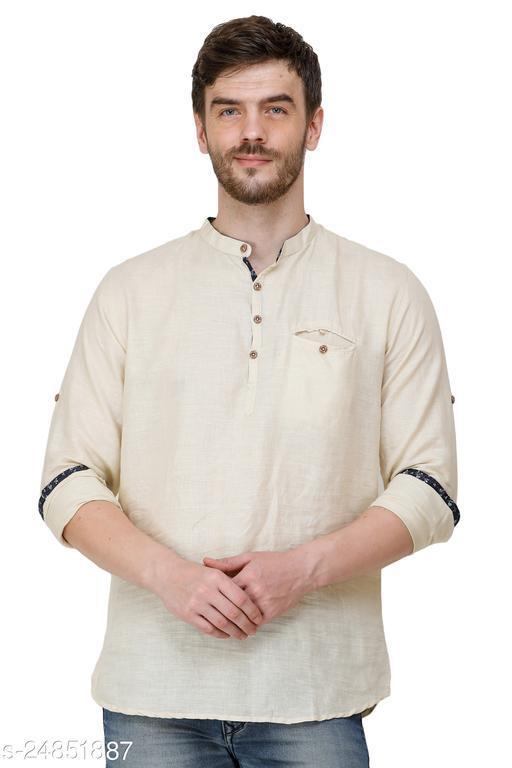 Mens Cream Color Slim Fit Casual Shirts
